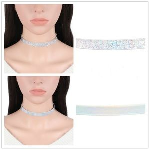 Reversible hologram iridescent choker necklace